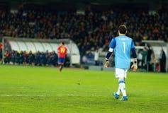 Iker Casillas, ο τερματοφύλακας της Ισπανίας κατά τη διάρκεια μιας αντιστοιχίας στοκ φωτογραφία