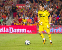 Iker Casillas. BARCELONA - AUGUST 17: Iker Casillas in action during the Spanish Super Cup final match between FC Barcelona and Real Madrid, 3 - 2, on August 17 stock images