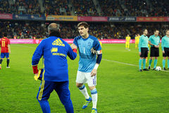 Iker Casillas at the beginning of Spain vs Romania soccer match Royalty Free Stock Photos