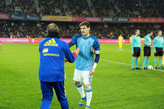 Iker Casillas at the beginning of Spain vs Romania soccer match Royalty Free Stock Image