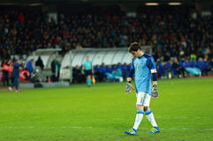 Iker Casillas, the goalkeeper of Spain during a match. CLUJ-NAPOCA, ROMANIA - MARCH 27, 2016: Iker Casillas, the goalkeeper of the National Football Team of royalty free stock image