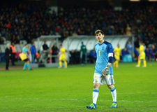 Iker Casillas, the goalkeeper of Spain during a match. CLUJ-NAPOCA, ROMANIA - MARCH 27, 2016: Iker Casillas, the goalkeeper of the National Football Team of stock photography