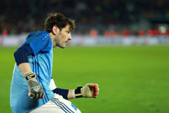Iker Casillas, the goalkeeper of Spain during a match. CLUJ-NAPOCA, ROMANIA - MARCH 27, 2016: Iker Casillas, the goalkeeper of the National Football Team of royalty free stock photos