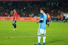 Iker Casillas, the goalkeeper of Spain during a match. CLUJ-NAPOCA, ROMANIA - MARCH 27, 2016: Iker Casillas, the goalkeeper of the National Football Team of stock photos