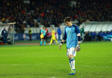 Iker Casillas, the goalkeeper of Spain during a match. CLUJ-NAPOCA, ROMANIA - MARCH 27, 2016: Iker Casillas, the goalkeeper of the National Football Team of stock photo