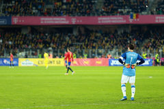 Iker Casillas, the goalkeeper of Spain during a match. CLUJ-NAPOCA, ROMANIA - MARCH 27, 2016: Iker Casillas, the goalkeeper of the National Football Team of royalty free stock photography