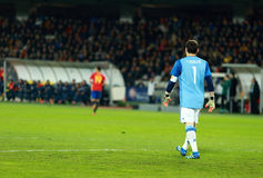 Iker Casillas, le gardien de but de l'Espagne pendant un match photographie stock
