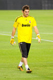 Iker Casillas of Real Madrid. BARCELONA - AUGUST 17: Iker Casillas of Madrid warms-up before the Spanish Supercup final match between FC Barcelona and Real stock image