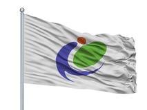 Iki-Stadt-Flagge auf Fahnenmast, Japan, Präfektur Nagasaki, lokalisiert auf weißem Hintergrund stock abbildung