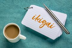 Ikigai - a reason for being. Ikigai - Japanese concept - a reason for being or a reason to wake up - handwriting on a stack of index cards with a cup of coffee royalty free stock images