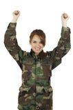 Iklädd grön militär för nätt ung flicka Arkivfoto