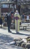 Iklädd kimono för ung japansk kvinna som talar till äldre kvinna, med tillbaka till kameran och folk i bakgrund Asakusa Japan, 20 royaltyfria foton