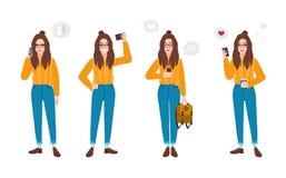 Iklädd moderiktig kläder för ung kvinna med smartphonen Hipsterflicka med mobiltelefonen - smsa, samtal som tar selfie stock illustrationer