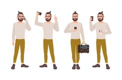 Iklädd stilfull kläder för ung man med smartphonen - smsa, samtal som tar selfiefotoet, läs- meddelande manlig stock illustrationer