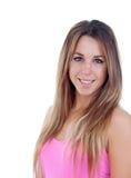 Iklädda rosa färger för kall kvinna Fotografering för Bildbyråer