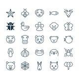 ikon ilustracyjny natury setu wektor Kolekcja niedźwiedź, ćma, pazura druk I Inni elementy, Także Zawiera symbole Tak jak słoń Obrazy Stock