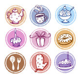 ikon kuchenny posiłku set obrazy stock
