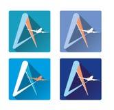 Ikon linii lotniczych samolot Obrazy Stock