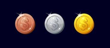 Ikon monety dla gemowego interfejsu Obrazy Stock