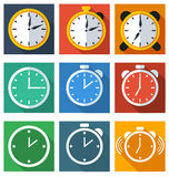 9 ikon płaski czas Zdjęcia Stock