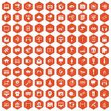 100 ikon sześciokąta multimedialna pomarańcze Zdjęcia Royalty Free