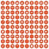 100 ikon sześciokąta weterynaryjna pomarańcze Ilustracja Wektor