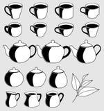 Ikon ustalone filiżanki herbata, dojni dzbanki, teapots i cukrowy basen, ilustracja wektor