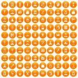 100 ikon ustawiająca fryzjer pomarańcze ilustracja wektor