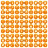 100 ikon ustawiająca sprzęt pomarańcze royalty ilustracja