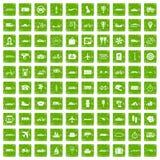 100 ikon ustawiająca transportu publicznego grunge zieleń Obraz Stock