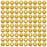 100 ikon ustawiający boiska złoto Fotografia Royalty Free