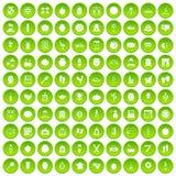 100 ikon ustawiający piękno produktu zielony okrąg royalty ilustracja