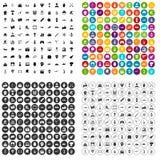 100 ikon ustawiający bohatera wektorowy wariant ilustracja wektor