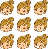 ikon wyrażeniowe kobiety s Obrazy Royalty Free