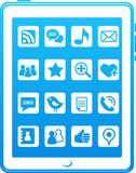 ikona błękitny środki dzwonią mądrze socjalny ilustracja wektor