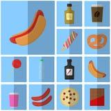Ikona błękitny płaski fast food prosta wektorowa ikona z cienia napojem i jedzeniem Ikony hot dog z ketchupem Obraz Royalty Free