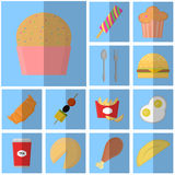 Ikona błękitny płaski fast food prosta wektorowa ikona z cienia napojem i jedzeniem Ikony różowa babeczka Zdjęcie Stock