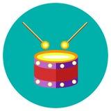 Ikona bęben zabawki w mieszkanie stylu Wektorowy wizerunek na round barwionym tle Element projekt, interfejs Obrazy Royalty Free