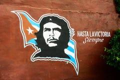 Ikona bohater Ernesto Che Guevara z Kubańską flaga i zdjęcia royalty free