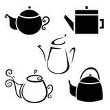Ikona czajniki, teapots, kawowy garnek Zdjęcie Royalty Free
