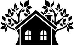 Ikona dom, za którym drzewa Fotografia Royalty Free