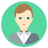 Ikona mężczyzna piosenkarz w płaskim stylu Wektorowy wizerunek na round barwionym tle Element projekt, interfejs Wizerunek w Fotografia Stock