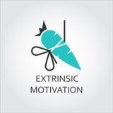 Ikona marchewka, extrinsic motywaci pojęcie Fotografia Royalty Free