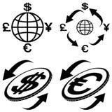 ikona pieniężni symbole Obrazy Stock