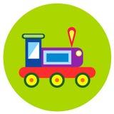 Ikona pociągi zabawki w mieszkaniu projektują Wektorowy wizerunek na round barwionym tle Element projekt, interfejs ilustracji