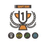 Ikona sporta projekta wektoru linii kolorowy czerń na białym backgroun royalty ilustracja