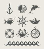 ikona symbol morski denny ustalony Zdjęcie Stock