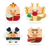 Ikona ustawia cztery świniowatego i Chińskiego nowego rok 2019 z śliczną prosiątko postacią z kreskówki ilustracja wektor
