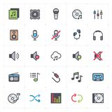Ikona ustawia głos i audio pełnego koloru konturu uderzenia - fotografia stock