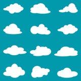 Ikona ustawiająca białe chmury Kolekcj chmury również zwrócić corel ilustracji wektora ilustracji
